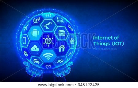 IOT. Internet of things concept. Everything connectivity device concept network and business with internet. Abstract 3D sphere or globe with surface of hexagons in wireframe hands. Vector illustration stock photo