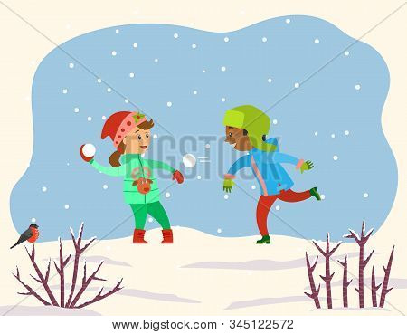Children playing with snow balls together in snowy park or forest. Kids play snowballs, spend time actively doing winter outdoor activity. Landscape with snowflakes and shrubs. Vector illustration stock photo