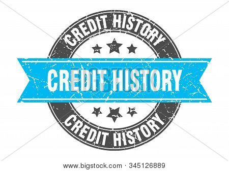 credit history round stamp with turquoise ribbon. credit history stock photo