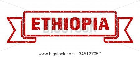 Ethiopia ribbon. Red Ethiopia grunge band sign stock photo