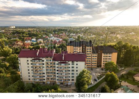 Aerial view of multistory apartment buildings in green residential area. stock photo