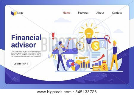 Financial advisor landing page vector template. Business analysts faceless characters. Company promotion, risk assessment, analytics and statistics web banner homepage design layout stock photo