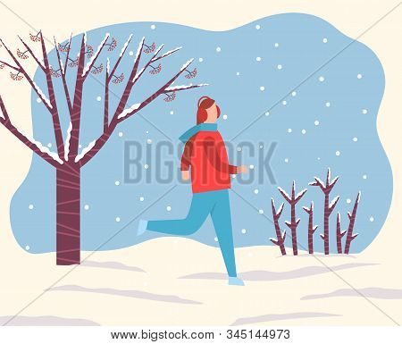 Woman running in snowy forest or park alone. Lady spend time actively doing hobby during snowfall. Outdoor activity in winter. Beautiful landscape with lot of snow on ground. Vector illustration stock photo