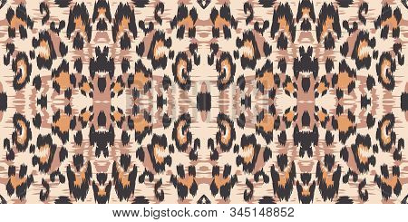 Dirt Leopard Drawing Vector Seamless Pattern. Dirt Bohemian Leopard Fabric Design Graffiti Designs. Coffee Handmade Tiles Background. Chocolate Jaguar Handmade Tile Art. stock photo