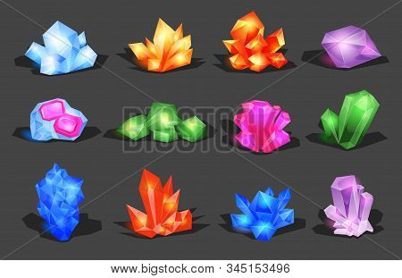 Minerals, Crystals, Gems, and Diamonds. Crystalline stone or gem and precious gemstone for jewellery. Simple crystal symbol with reflection. Cartoon icons as decoration for games. Isolated Vector Set stock photo
