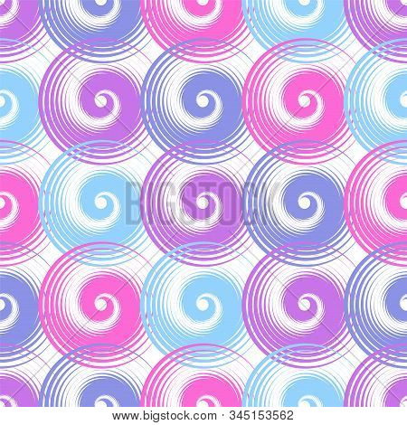 Spiral swirls purple complicated seamless pattern vector design. Round spiral scrolls, circle swirls geometric elements, curly vortex tiles. Cute swirl scrolls abstract background seamless pattern. stock photo