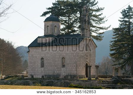 The Cipur church, also known as Church of the Nativity of the Virgin, built on the ruins of Old Cetinje Monastery stock photo
