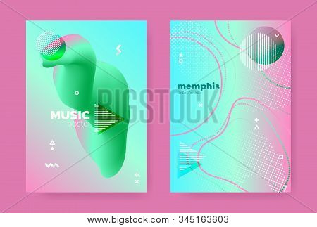 Graphic Memphis Geometric Background. 70s or 80s Style. Green Fluid Gradient Shapes. Modern 3d Dynamic Patterns. Abstract Geometric Elements. Gradient Liquid Shape. Memphis Geometric Elements. stock photo