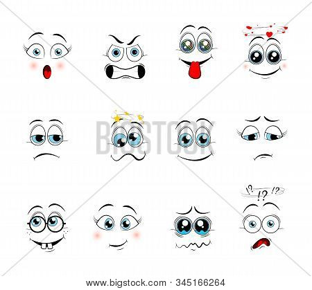 Cartoon expressions. Cute face elements eyes and mouths with happy, sad and angry, disbelief emotions. Cartoon eyes. Vector illustration stock photo