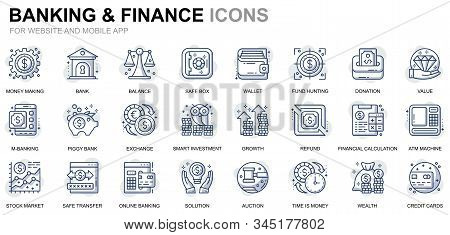 Simple Set Banking and Finance Line Icons for Website and Mobile Apps. Contains such Icons as Balance, E-Banking, Auction, Financial Growth. Conceptual color line icon. Vector pictogram pack. stock photo