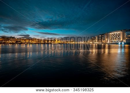 Amsterdam, Netherlands, Holland - December 2019: view over oosterdock port at sunset stock photo