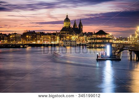 Amsterdam, Netherlands, Holland - December 2019: Pleasure boat on the city's water channels. river IJ stock photo
