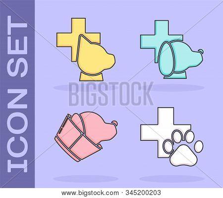 Set Veterinary clinic symbol, Veterinary clinic symbol, Veterinary clinic symbol and Veterinary clinic symbol icon. Vector stock photo