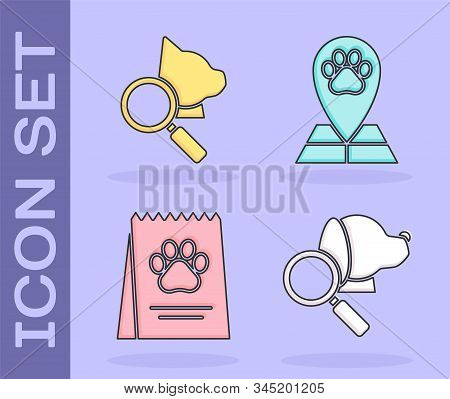 Set Veterinary clinic symbol, Veterinary clinic symbol, Bag of food for dog and Map pointer with veterinary medicine hospital icon. Vector stock photo