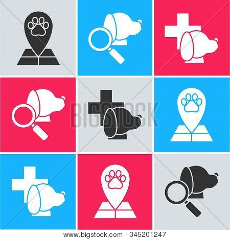 Set Map pointer with veterinary medicine hospital, Veterinary clinic symbol and Veterinary clinic symbol icon. Vector stock photo