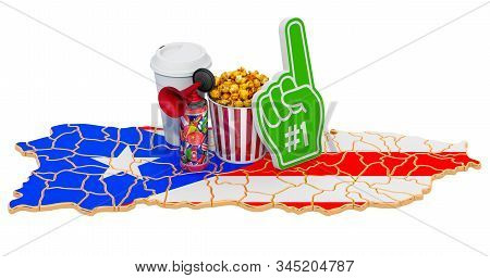 Sport fans in Puerto Rico concept, 3D rendering isolated on white background stock photo