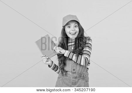 Join school literature club. Child happy smiling girl with notepad book enjoy studying non formal atmosphere. Education is fun. Education outside of structured curriculum. Informal education concept. stock photo