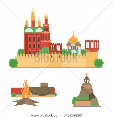 Sights of Moscow vector illustration set. Moscow architecture historical famous beautiful Red Square. Elements for design concept. Moscow sights for tourists gift card, web design, leaflet. Vector. stock photo