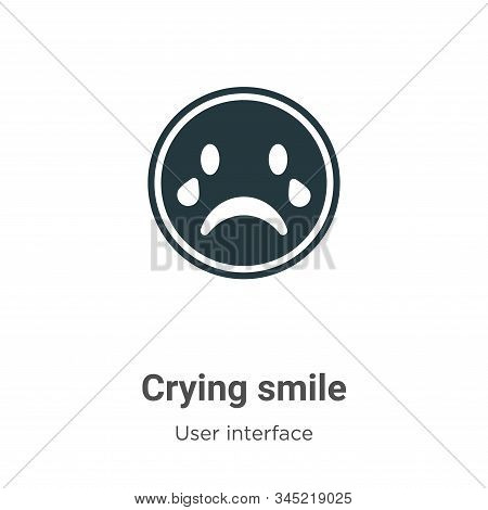 Crying smile vector icon on white background. Flat vector crying smile icon symbol sign from modern user interface collection for mobile concept and web apps design. stock photo