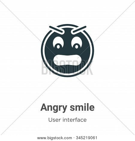 Angry smile vector icon on white background. Flat vector angry smile icon symbol sign from modern user interface collection for mobile concept and web apps design. stock photo