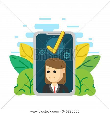 Successful completion of business, Success, accepted, approve, checkmark stock photo