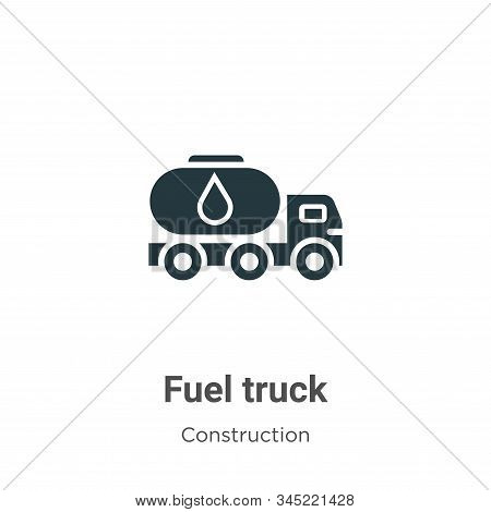 Fuel truck vector icon on white background. Flat vector fuel truck icon symbol sign from modern construction collection for mobile concept and web apps design. stock photo