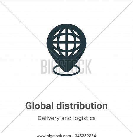 Global distribution vector icon on white background. Flat vector global distribution icon symbol sign from modern delivery and logistics collection for mobile concept and web apps design. stock photo