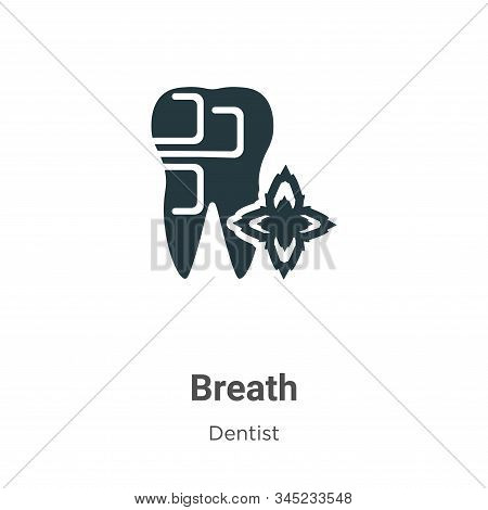 Breath vector icon on white background. Flat vector breath icon symbol sign from modern dentist collection for mobile concept and web apps design. stock photo