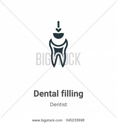 Dental filling vector icon on white background. Flat vector dental filling icon symbol sign from modern dentist collection for mobile concept and web apps design. stock photo