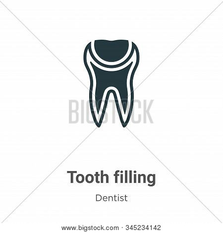 Tooth filling vector icon on white background. Flat vector tooth filling icon symbol sign from modern dentist collection for mobile concept and web apps design. stock photo