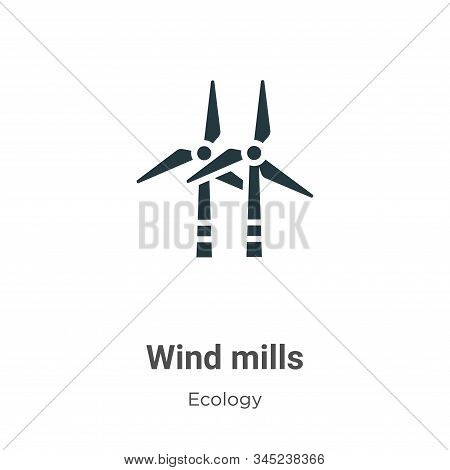Wind mills vector icon on white background. Flat vector wind mills icon symbol sign from modern ecology collection for mobile concept and web apps design. stock photo