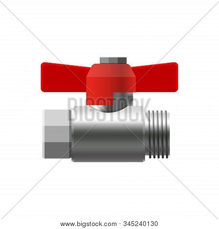 Valve ball, fittings, pipes of metal piping system. Valve water, oil, gas pipeline, pipes sewage. Construction and industrial pressure technology plumbing. Vector illustration realistic style isolated stock photo