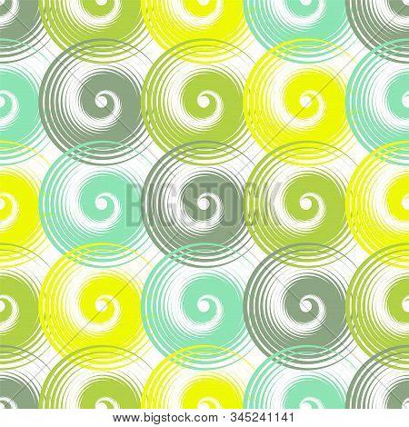 Spiral swirls green complicated seamless pattern vector design. Round spiral scrolls, circle swirls geometric elements, curly vortex tiles. Cute swirl scrolls abstract background seamless pattern. stock photo