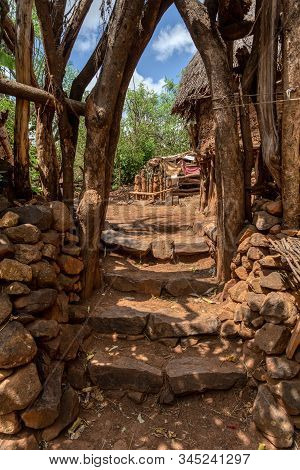 Simple stone stairs to house in walled village tribes Konso. African village. Africa, Ethiopia. Konso villages are listed as UNESCO World Heritage sites. stock photo
