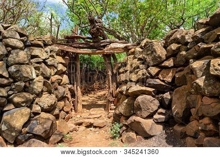 Fantastic walled village tribes Konso. African village. Africa, Ethiopia. Konso villages are listed as UNESCO World Heritage sites. stock photo