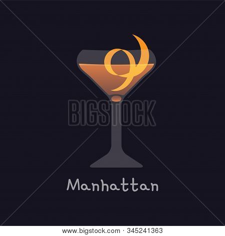 Vector cartoon illustration of Manhattan alcohol cocktail isolated on black background. Manhattan with orange skin in martini glass - illustration for alcoholic menu, restaurants stock photo