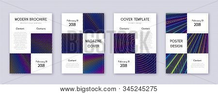 Business brochure design template set. Rainbow abstract lines on dark blue background. Adorable brochure design. Pretty catalog, poster, book template etc. stock photo