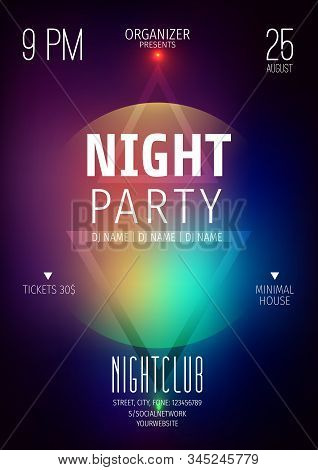 Poster or flyer layout template.Abstract background with geometric elements.Techno poster.Neon glow.Invitation to a night party.Advertising announcement of a party in the style of techno, music show. stock photo