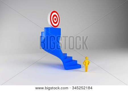 3d team businessman going to the target on top of the stairs. The concept of the start of work and the ultimate goal of the team. 3d rendering stock photo
