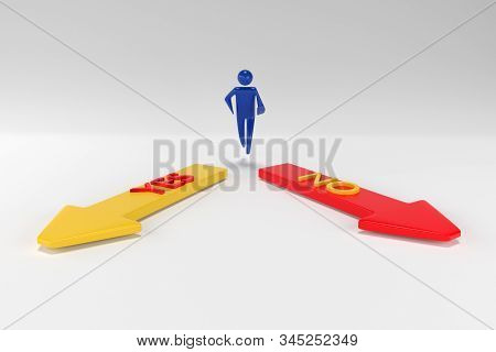 3d man with arrows YES NO in different directions. Arrows with inscriptions yes and no. 3d rendering stock photo