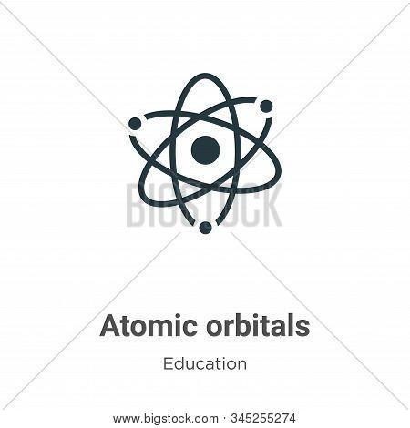 Atomic orbitals vector icon on white background. Flat vector atomic orbitals icon symbol sign from modern education collection for mobile concept and web apps design. stock photo