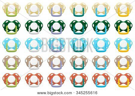 Illustration on theme big colored set baby pacifiers, dummy with rubber nipple. Baby pacifiers consisting of collection to newborn, good dummy nipple. Dummy nipple in pacifiers it baby care equipment. stock photo