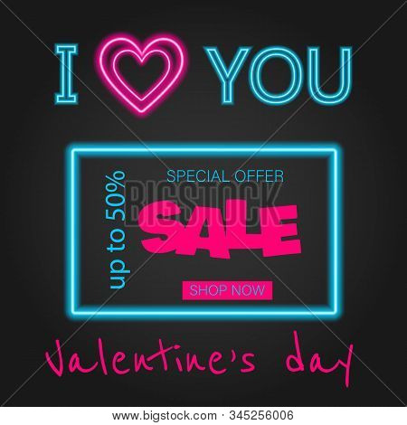 Valentine's Day background, Valentine's day banners, Valentines Day flyer, Valentine's Day design, Valentine's Day with Heart on black background, Copy space text area, vector illustration. Glow Signboard Valentines Day. Valentines Day Sale banner. Valent stock photo