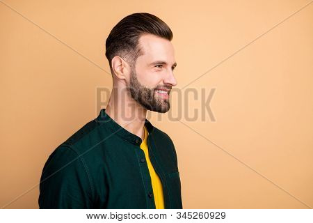 Closeup photo of amazing business guy perfect appearance neat bristle friendly smiling colleagues corporate meeting wear casual stylish clothes isolated beige color background stock photo