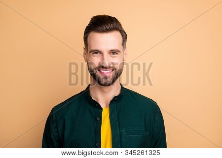 Closeup photo of amazing guy perfect appearance neat bristle young promoted boss chief friendly smiling colleagues wear casual clothes isolated beige color background stock photo