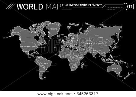 North and South America, Europe, Asia, Africa, Australia and Oceania Vector Maps stock photo