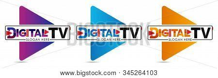 Digital Tv Logo Template. Media Company Logo Or Film Production Studio Or Audio-visual Studio Or On-