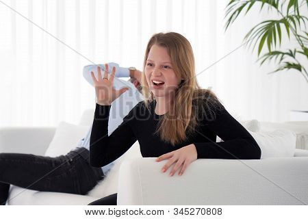 Couple after argument. Angry girlfriend and boyfriend sad at home. Couple worried after argument. stock photo