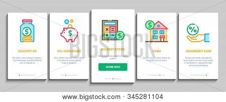 Pension Retirement Onboarding Mobile App Page Screen Vector. Money in Glass Bottle And Box, Calculator And Clock, Pension Finance Concept Linear Pictograms. Color Contour Illustrations stock photo
