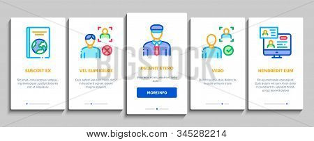 Passport Control Check Onboarding Mobile App Page Screen Vector. Scanning Passport And Stamp, Policeman And Book, Fingerprint And Document Concept Linear Pictograms. Color Contour Illustrations stock photo